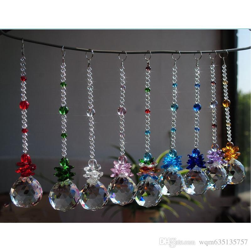 K9 Crystal Glass Ball Suncatcher Prisms Pendant Handmade Rainbow Hanging Drop Pendants Gift 20mm W017