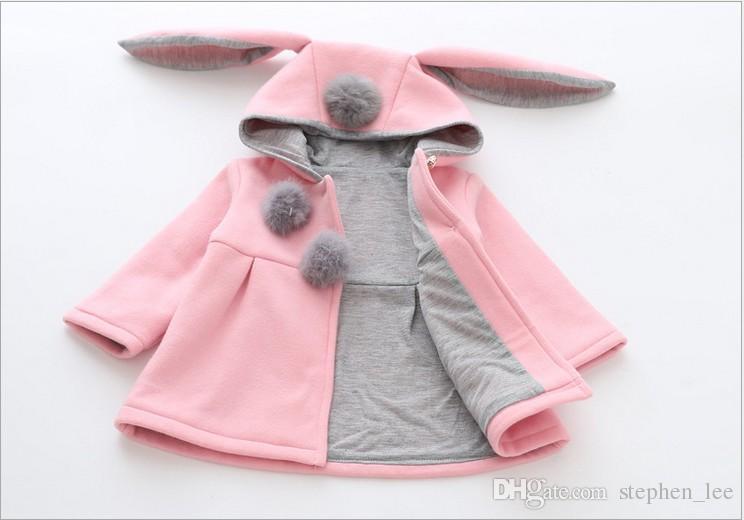 التجزئة جديد الخريف الشتاء الطفلات آذان أرنب مقنعين الأميرة سترة معاطف الرضع فتاة القطن أبلى لطيف أطفال جاكيتات هدايا عيد الميلاد