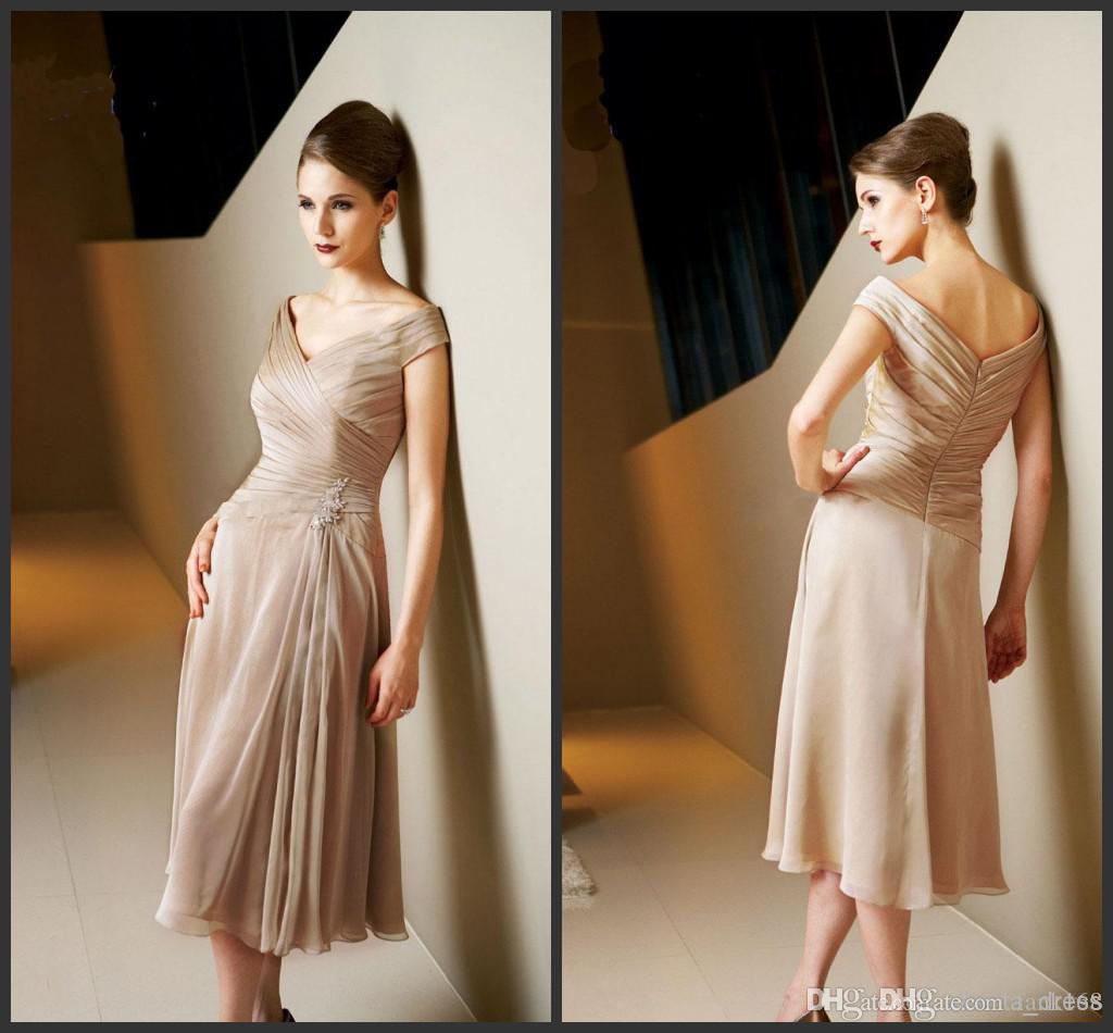 2016 Yeni Koleksiyon Omuz Kapalı Gelin Elbiseler Örgün Önlük Akşam Elbise Ile Capped Aplikler Sequins Draped Diz boyu
