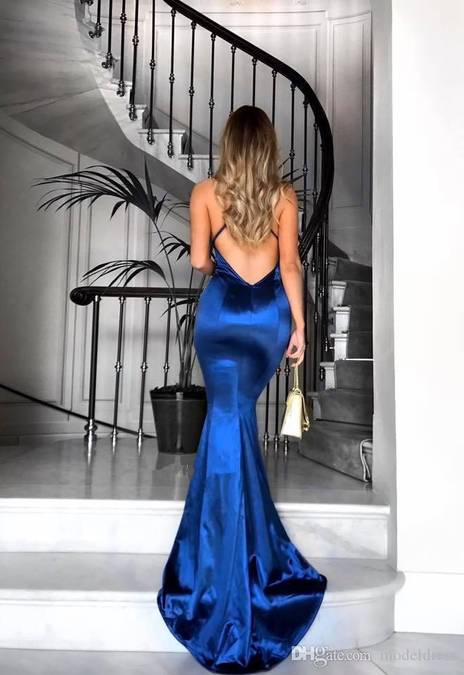 Modest Royal Blue Prom Dresses 2018 Halter Pleats Mermaid Sexy Back Sweep Train Sexy Evening Party Pageant Gowns Cheap Custom Made Vestidos