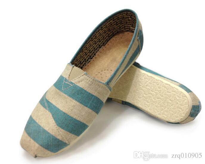 Tom linen flats, breathable casual shoes for men and women linen, a pedal lazy canvas shoes zebra large canvas shoes EUR35-45