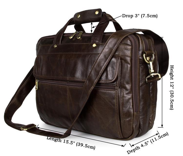 6480ea938616 Wholesale- Men Designer Luxury Genuine Leather Bag Business Messenger Bag  Shoulder cowhide leather CrossBody Bag For 15 inch laptop