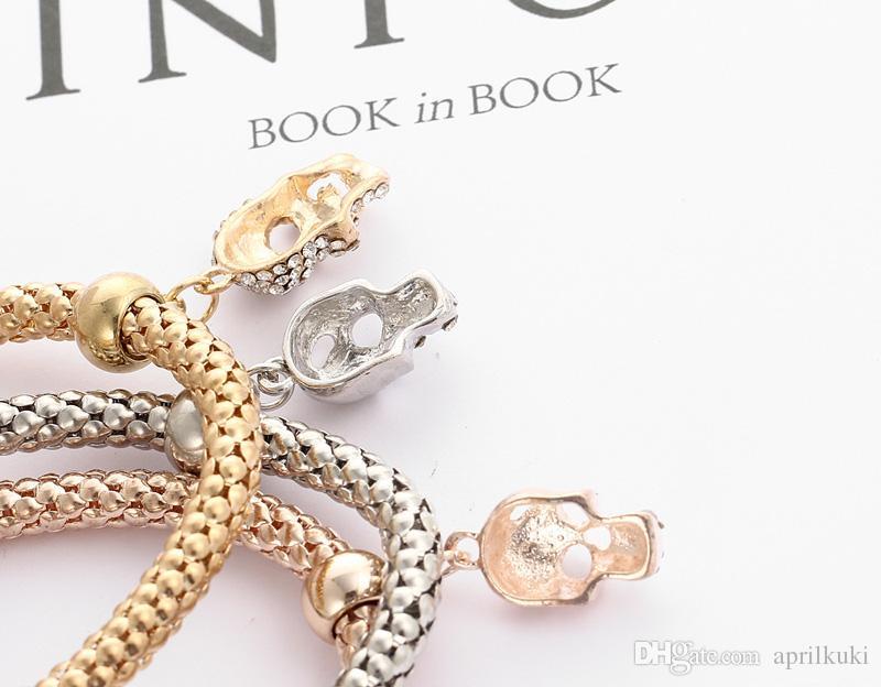 Pulsera circular colgante calavera de cristal pulsera europea Oro Plata Oro Rosa 3 pedazos / sistema de pulseras palomitas Mujeres mayor del estiramiento