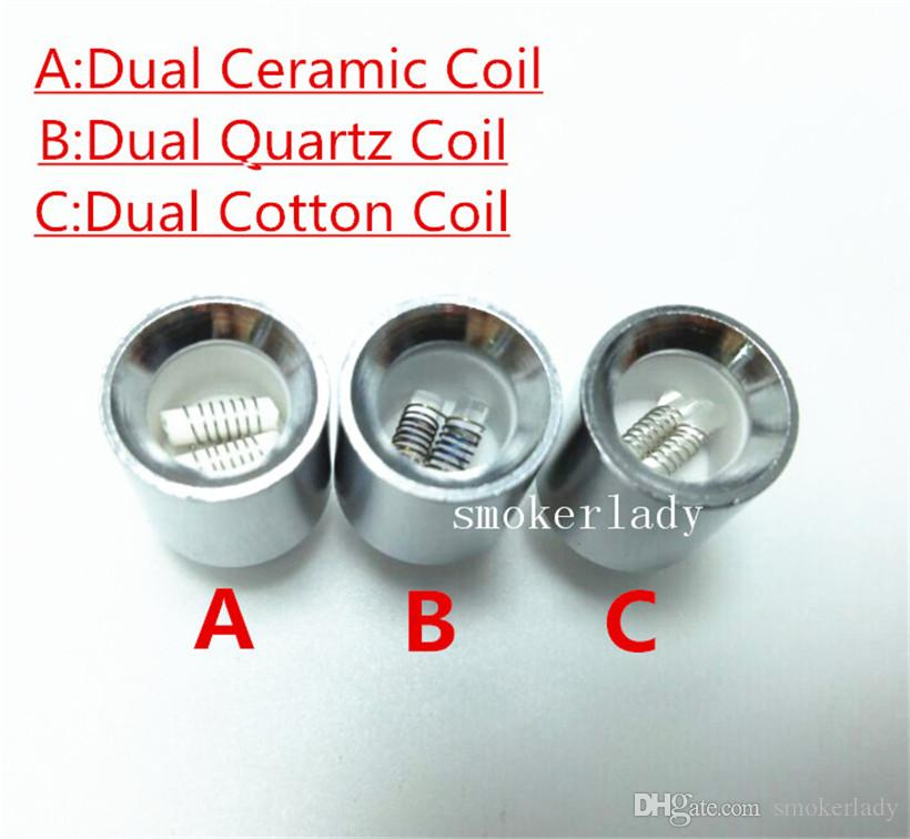 Dual Ceramic Cotton Coil Head for Glass Metal Wax Atomizer Skillet Clearomizer Wax Coils for Cannon Vase Bowling Atomizer Dry Herb Vapori