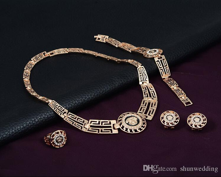 Fashion Lion Head Crystal CZ Bridal Jewelry set Gold Color Pendant Necklace Earrings Ring Bracelet Jewelry Sets For Women
