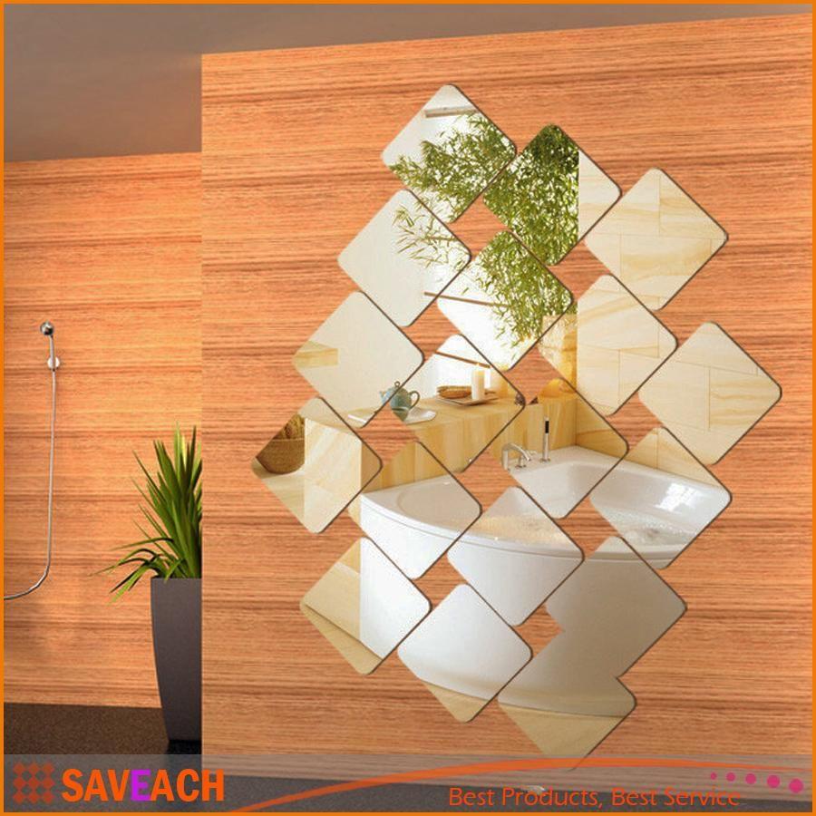 20cm Square Roof Ceiling Mirror Crystal Wall Sticker Diy Acrylic 3d  -> Spot De Parede Para Sala
