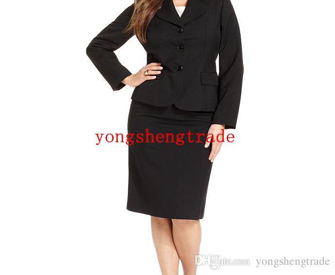 Plus Size Black Suit Plus Size Skirt Washable Double-Slit Pencil Custom Made Women Suit Notch Lapel Flap Pocket HS7959