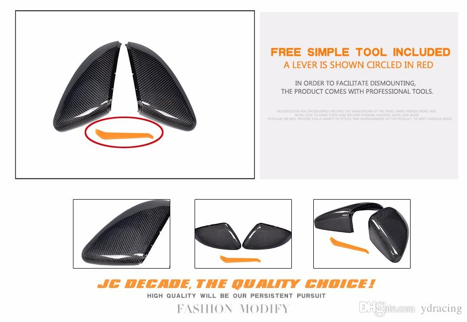 Replacement Type Carbon Fiber Side RearView Mirror Covers Trim for Volkswagen VW Golf 7 VII MK7 GTI R 2014-2017