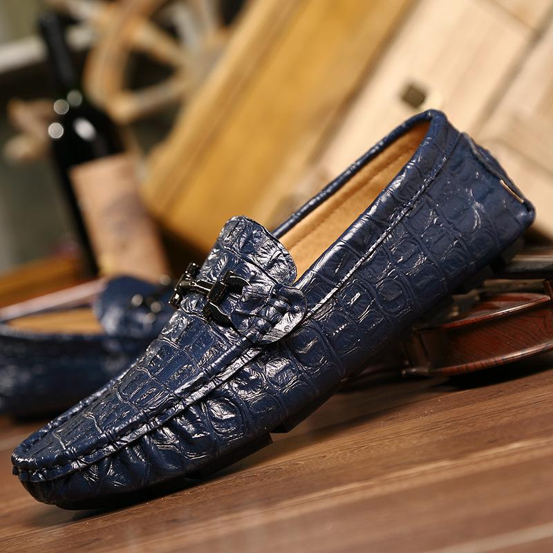 9f1a798750841 Hot Sale New Fashion Boat Shoes Mens Crocodile pattern Leather Loafer Slip  On Mens Driving Car Shoes