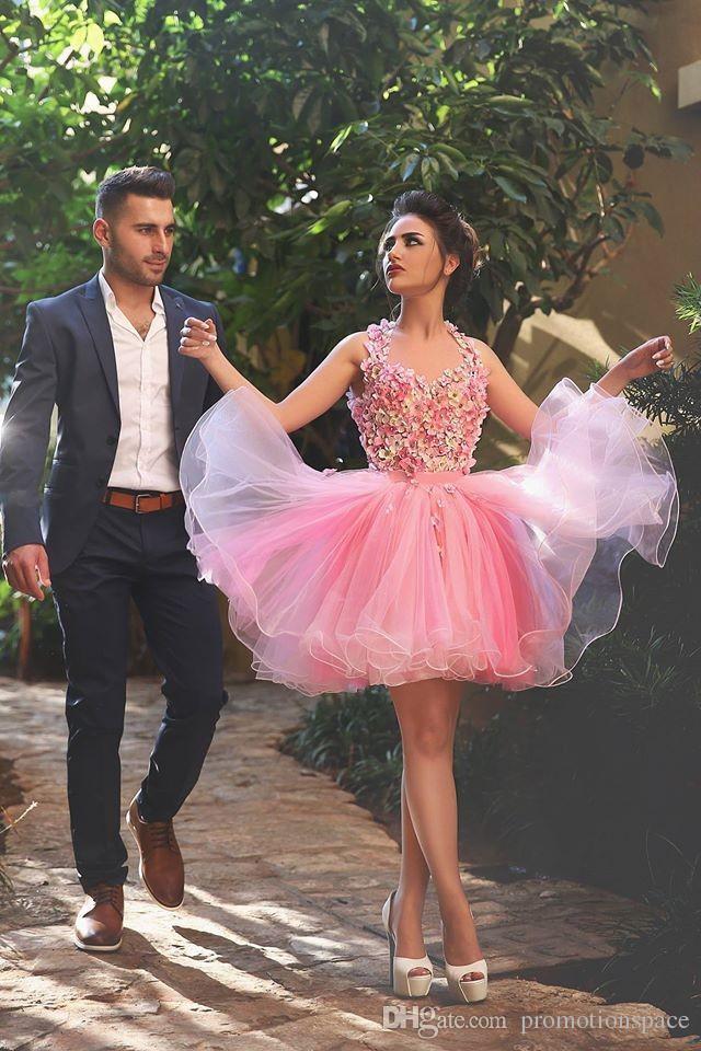 Krótkie Różowe Suknie ślubne 2016 Suknia Balowa Bez Rękawów Z Aplikacjami Kwiaty Robe de Mariage Keyhole Powrót Tulle Organza Robe de Mariee
