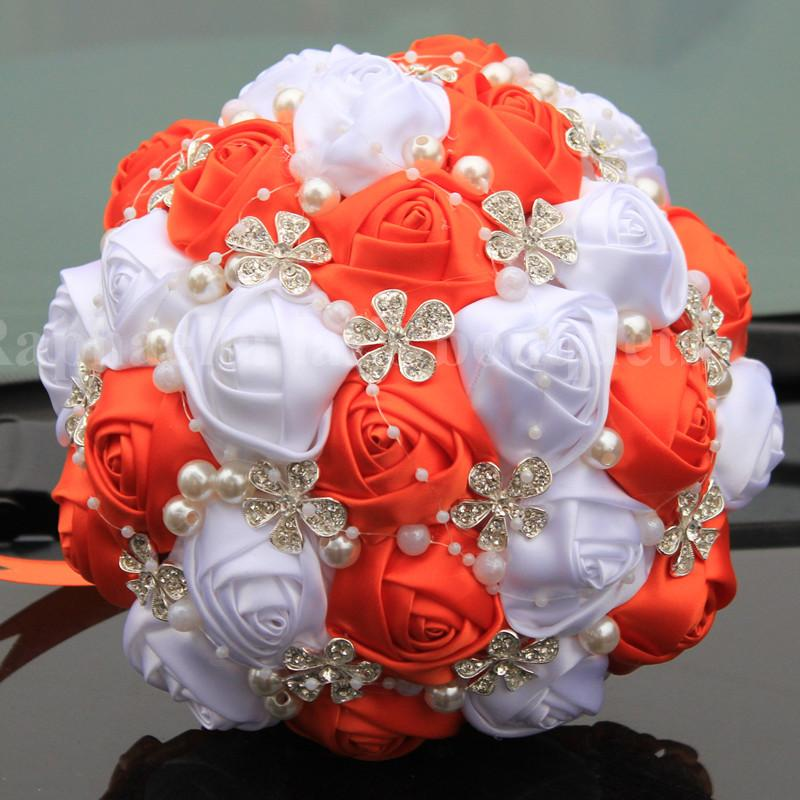 Online cheap popular orange white wedding bouquet handmade durable online cheap popular orange white wedding bouquet handmade durable holding flowers silk rose diamond pearl artificial flower bouquets by yigu002 dhgate mightylinksfo
