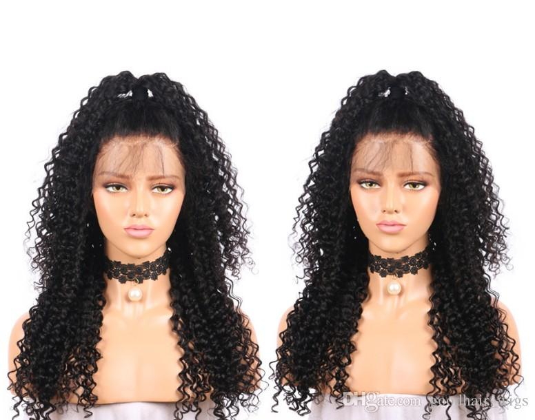 Human Hair Wigs With kinky curly best quality curly Lace Front Wigs for african women Natural hailine Full Lace Wig large small cap
