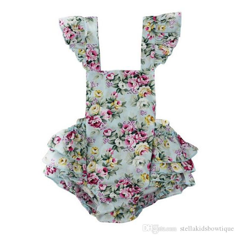 Vintage Summer Woven Floral Baby Bubble Romper Flutter Sleeve Ruffle Baby Girls Playsuit Backless Cross Romper Baby Cltohes