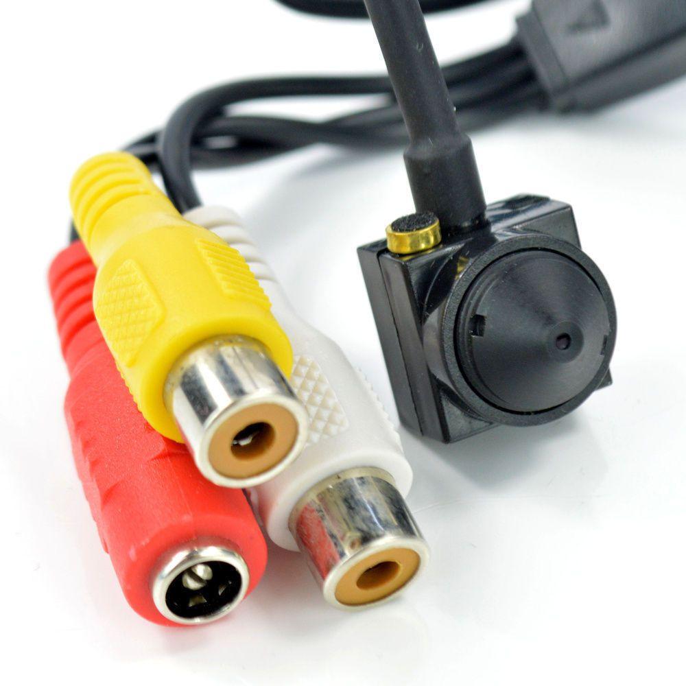 700TV 170 graus super pequena câmera de vídeo a cores com linha de áudio HD Mini Mini Câmera de Segurança CCTV Pin Hole