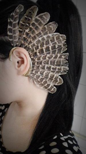 Africa Wholesale or Retail- New Unique LeftUnisex Big Feather Ear Cuff Non Piercing Gold Clip On Earrings For Women/Men