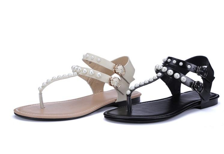 yüksek kalite! U572 HAKIKI DERI INCI T ÇANTASı DÜZ SANDALS C siyah bej rahat plaj moda kadınlar