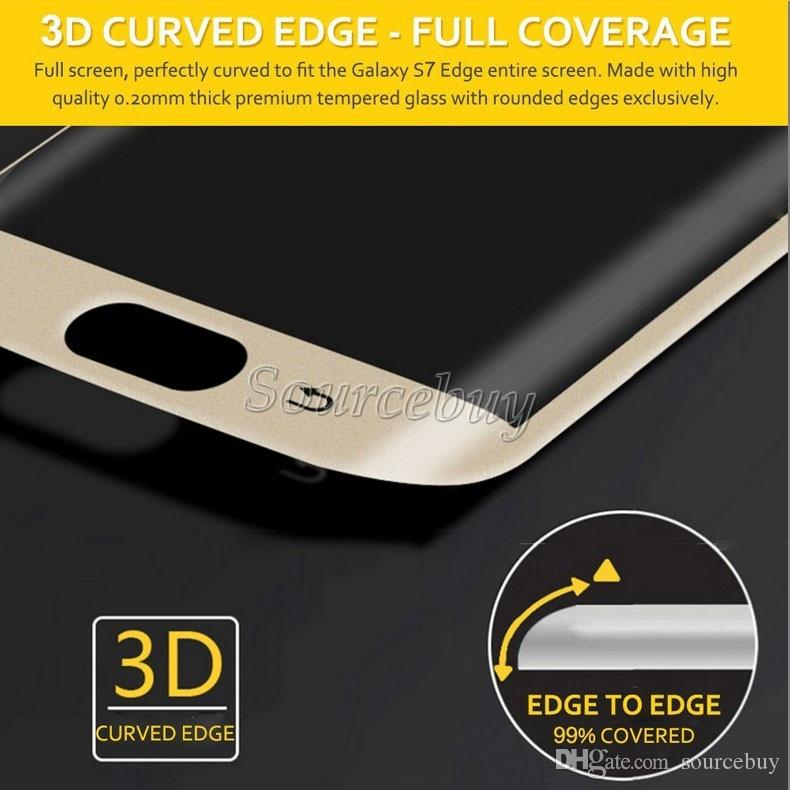 New Galaxy S7 edge Full Screen Protector Tempered Glass S6 edge Plus Cover Whole Screen 3D Curved Phone Screen Protector With Retail Package