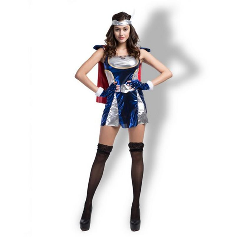 2017 thor girl costume sexy cosplay halloween women dresses with cape t pants stage party clothing hot selling office costume themes great family halloween - 2017 Halloween Themes