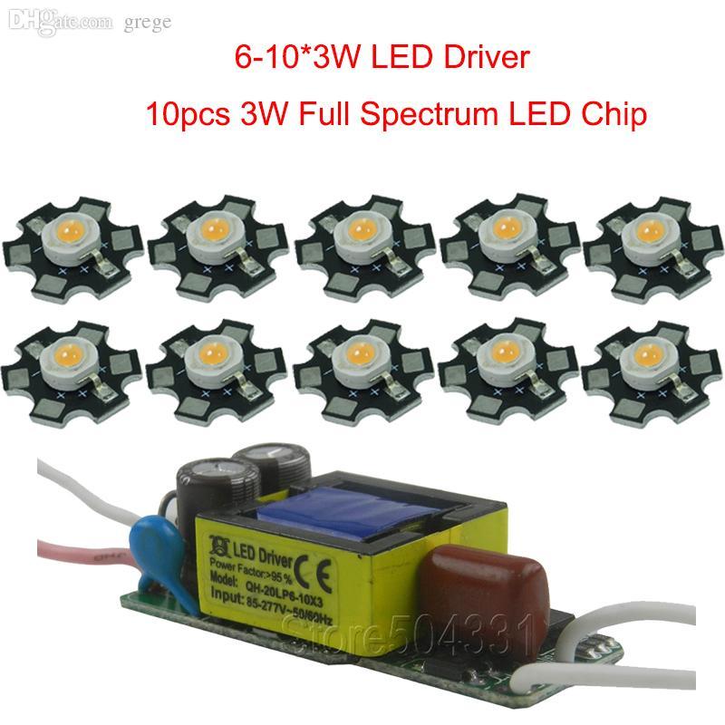Wholesale-10pcs 3w full spectrum led 380-840nm +1pcs 6-10x3w 600mA led  driver diy 30w led grow light for plants lamp