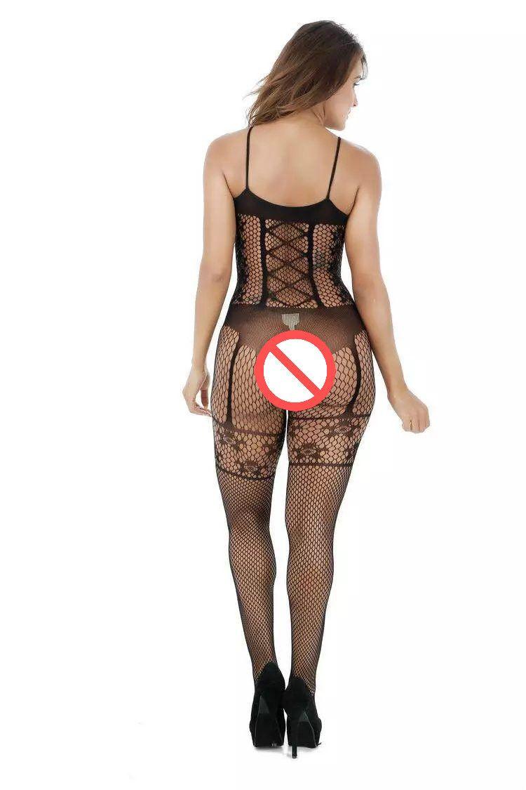 Yeni Seksi Kadın Açık Crotch Mesh Bodystocking Stocking Lingerie Kostüm Fetiş Bodysuit Sıcak Seksi Siyah Lingerie Seksi Spagetti sapanlar Pijama