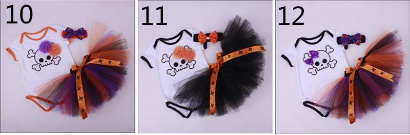 12 Estilo de la niña de dibujos animados infantil de Halloween Trajes cordón de cumpleaños de la magdalena Romper + falda del tutú + venda del ganchillo hecho a mano