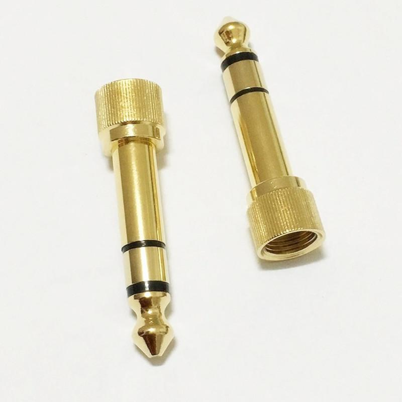 "50pcs\Bag High Quality Gold 1/4"" 6.35mm Male to 3.5mm Female Plug Stereo Audio Headphone Screw Adapter Connector"