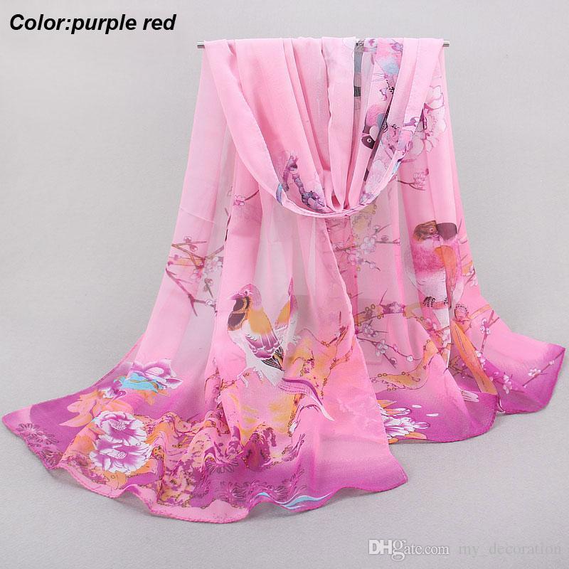 Miglior prezzo 2016 nuova ultima moda estate lunga sciarpa in chiffon rosa sciarpa protezione solare con motivo di stile cinese