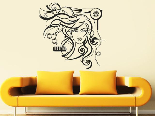 Home decor wall sticker sexy girl vinyl wall decal hairdresser salon nail barber shop hair stylis wall sticker hair shop salon window home wall stickers