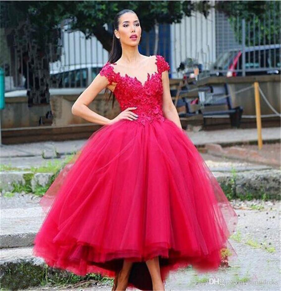 Grosshandel V Ausschnitt Tull Brautkleid Rot Farbe 3d Floral
