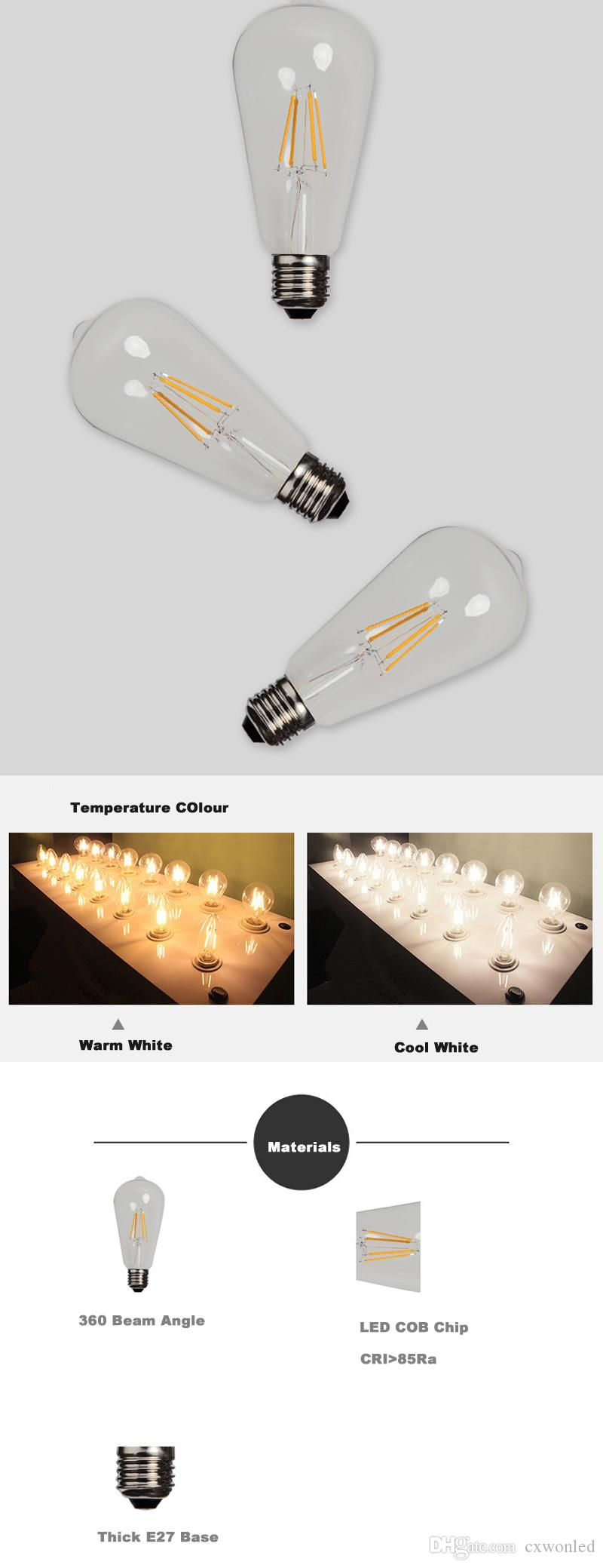 Супер яркий диммируемый E27 ST64 Эдисон Стиль Винтаж Ретро COB LED Лампа накаливания Лампа Теплый Белый 85-265 В ретро LED лампа накаливания