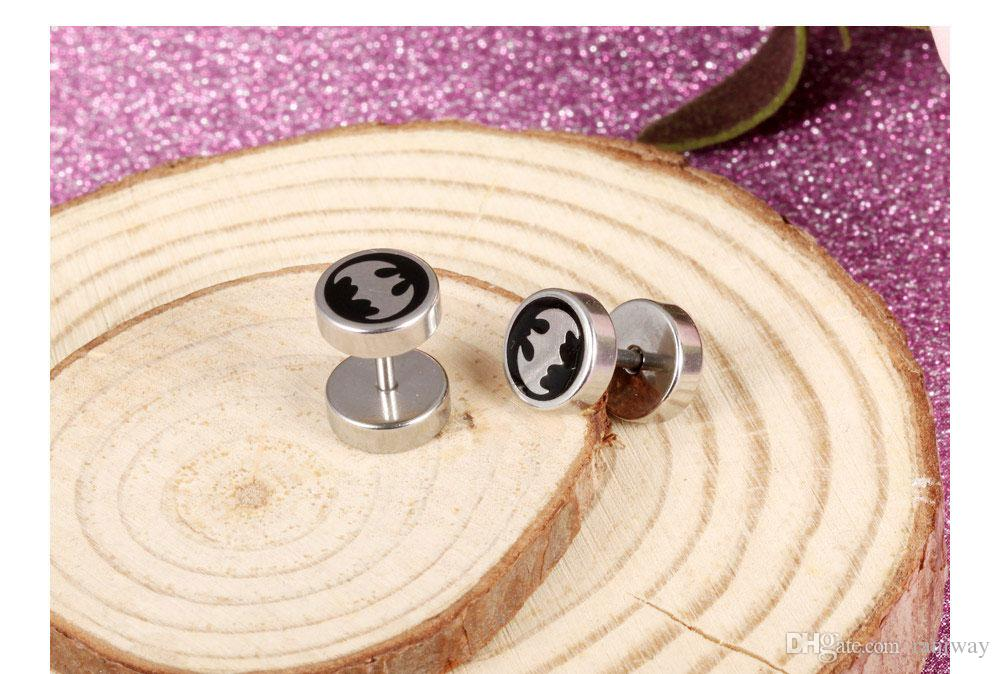 Vintage Post with Batman Stainless Steel Fake Cheater Plug Taper Tunnels Stud Earrings Hip-Hop Mens Jewelry