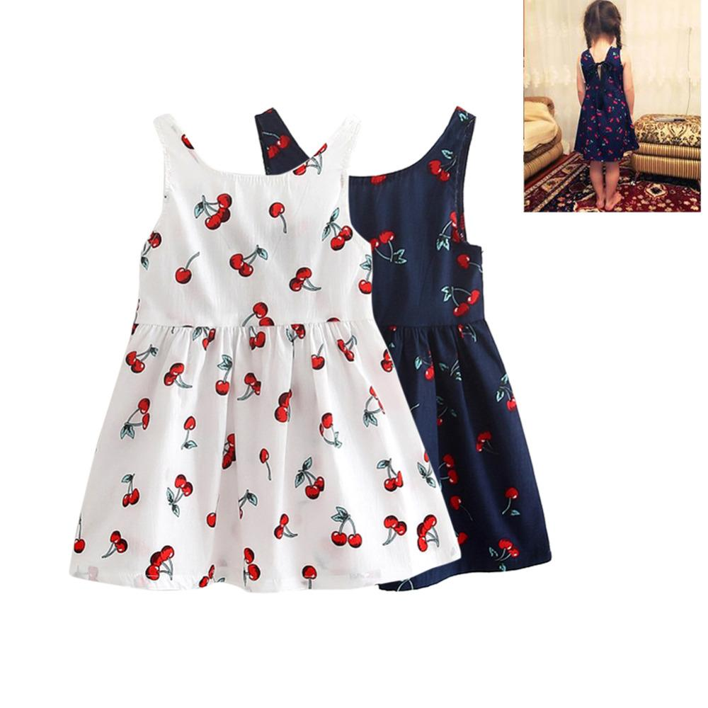 12be6b4f6 2019 Girls Dress Summer Clothes Sleeveless Cherry Bow Decor Baby ...
