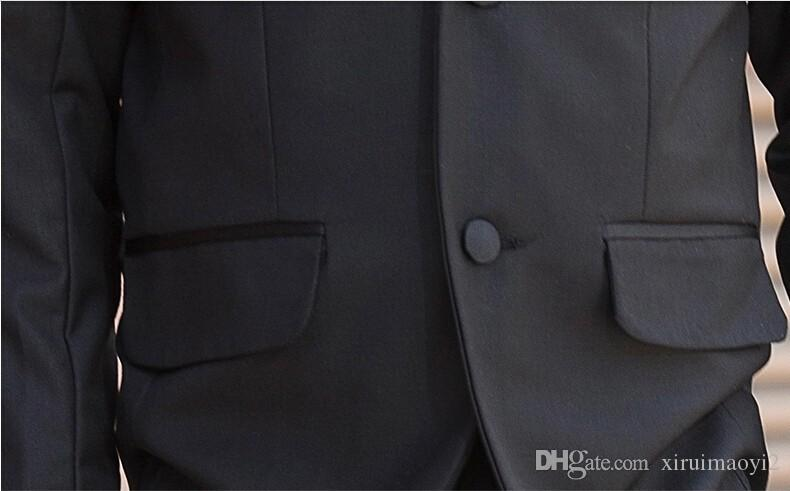 2015 New Fashion Kids Boy Suit Black Boy Wedding Suit Formal Baby Boy Blazer Suit 5-Piece F 1018
