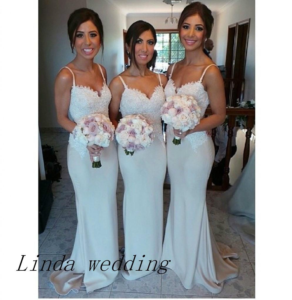 Elegant Bridesmaid Dresses 2019 New Arrival Mermaid Spaghetti Straps Floor Length Long Maid of Honor Dress Wedding Party Gown