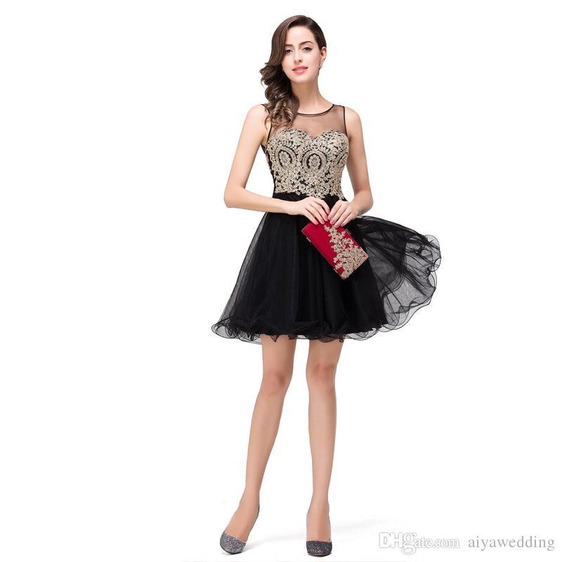 Nuevos vestidos de noche Moda Corto Bordado de encaje negro Vestidos de Fiesta Vestido de fiesta de graduación de mini tul vestido de graduación Envío rápido