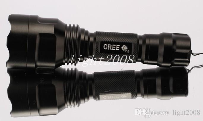 UltraFire C8 Cree XM-L Q5 5-Mode 1200LM kampierende LED Taschenlampen-Fackel 18650 helle Lampe Freies Verschiffen