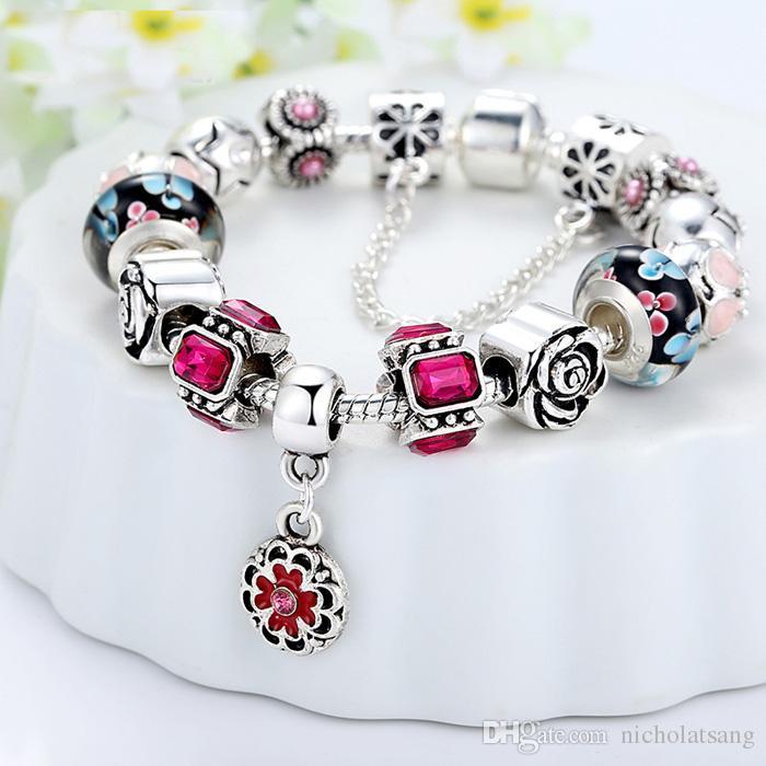 es mezclados Pandora perlas de flores pulseras venta al por mayor de moda DIY pulseras del encanto para las mujeres 925 perlas de plata de la joyería de regalo de Navidad