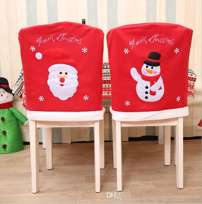 Santa Claus Snowman Chair Cover Christmas Dinner Table Back Covers Party Ornament Decorations Kka3137 Xmas Cheap