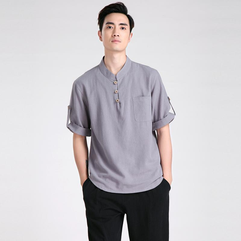Shanghai Story cinese tradizionale lino manica corta Tuta Tops cinese Kung Fu camicia Kung Fu giacca Kung-Fu camicia i