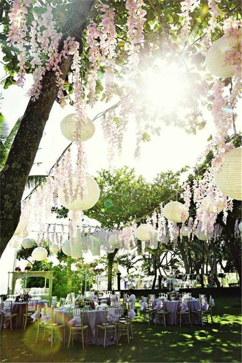 Romantic Artificial Silk Flowers Simulation Wisteria Vine Glamorous Wedding Decorations High Quality Direct Factory Price Hot Sale