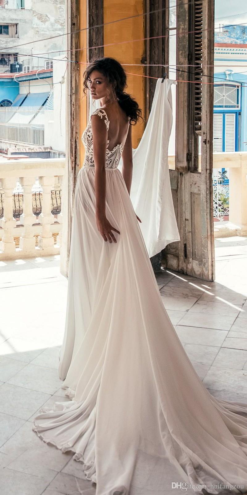Sexy Julie Vino Une Robe De Mariée En Ligne Avec Haute Split Pas Cher Profond V Cou Illusion Dentelle Applique Robes De Mariée Sur Mesure