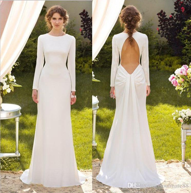 Discount 2017 Concise Elegant White Long Sleeve Sheath Wedding ...