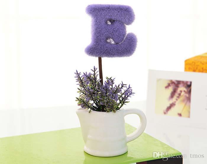 Vente chaude violet plante d'amour simulé, ornement pour le bureau de café, cadeaux de mariage