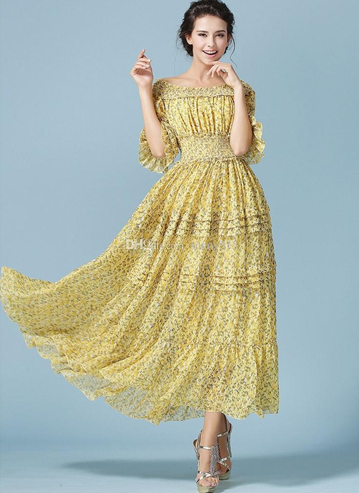 Elegante Plus Size donne stampa floreale Chiffon Ruffle Maxi abito Bohemian Beach Dress pavimento lunghezza abiti lunghi vita alta abiti da sera partito