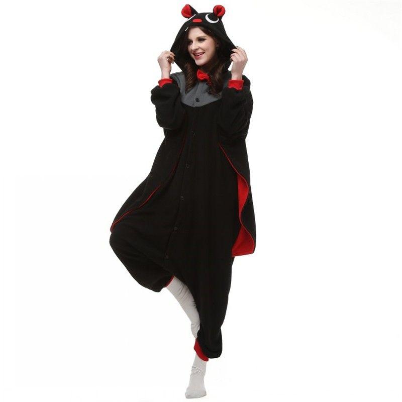 New Vampire Devil Costume Onesies Adults Black Bat Mans Evil Bat Cosplay Onesies Halloween Party Cape Dress Costumes Cartoon Bat jumpsuit