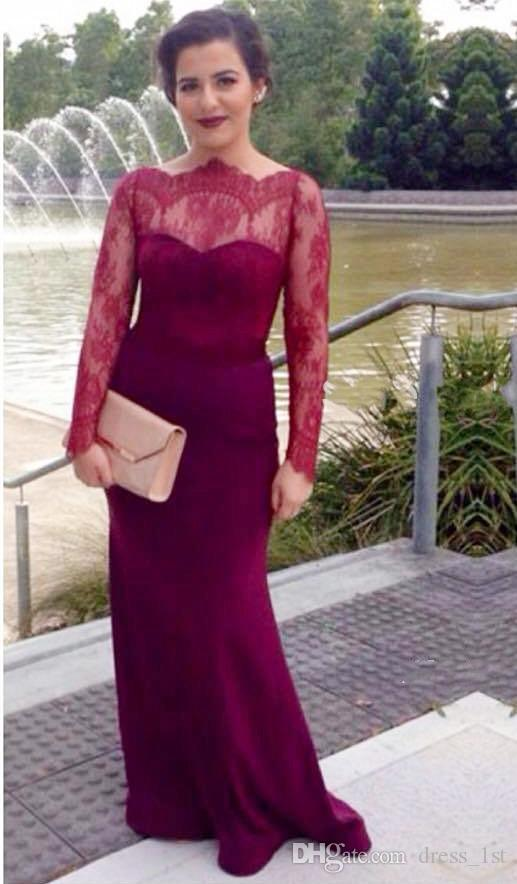 New 2016 Fuchsia Chiffon And Lace Long Sleeve Evening Gowns Modest Bateau Back Covered Button Long Dress Evening Wear Custom Made EN9286