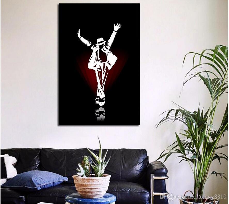 Black White Famosa Estrela POP King Michael Jackson sala de estar decoração poster pintura da lona da arte da parede fotos sem moldura