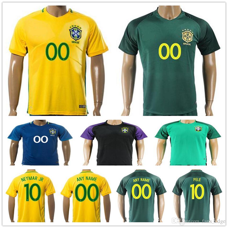 yxs 2017 2018 brazil national team football jerseys maillot de foot 10 neymar jr pele ronaldinho 11