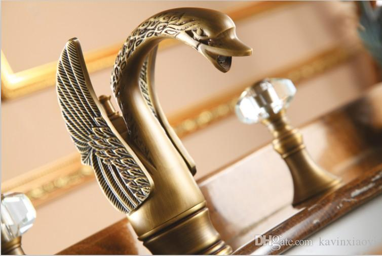2018 Antique Brass Finish Swan Sink Faucet 8 Inch Widespread Lav Sink Mixer  Faucet Crystal Handles Tap From Kavinxiaoyi, $300.51 | Dhgate.Com