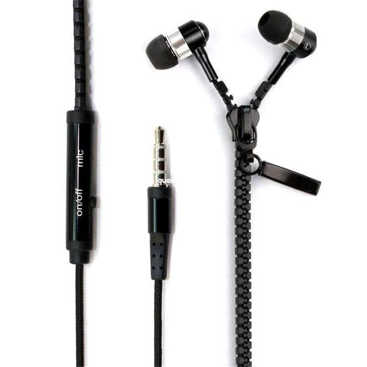 Zip fone de ouvido 3,5 milímetros com microfone de metal botões zipper fone de ouvido para MP3 MP4 Samsung S5 S6 HTC